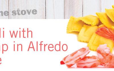 Ravioli and Shrimp in Alfredo Sauce
